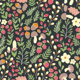 Forest pattern. Vector seamless pattern with flowers, mushrooms and forest plants. Decorative background for design and decoration of textiles, wallpapers Stock Image