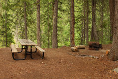 Forest Picnic Area. With table and fire pit royalty free stock image