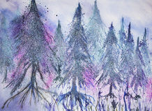 Forest of pine trees in fantasy snow.