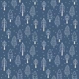 Forest pines seamless vector pattern. Hand drawn winter background. Forest pines seamless vector pattern. Hand drawn winter background christmas trees in Stock Images