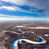 Forest of plain and small river in winter Royalty Free Stock Photos