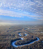 Forest of plain and small river in winter Royalty Free Stock Photo