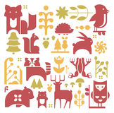 Forest Plants And Animals Set Stock Photography