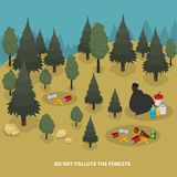 Forest Pollution Isometric Composition Stockfotos