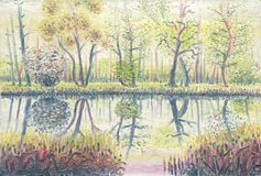 Forest pond in spring. Oil painting on canvas stock illustration