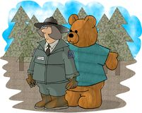 Forest Ranger and a bear. This illustration that I created depicts a forest ranger being followed by a giant stuffed bear Stock Images