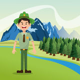Forest ranger with landscape of pine trees and mountains design. Landscape of mountains, river, sky and pine trees with forest ranger illustration Royalty Free Stock Photography