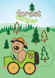 Forest ranger. Vector illustration of a Forest Ranger bear patrolling the forest Stock Photo
