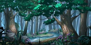Forest Realistic Style Illustration de Digital CG. de jeu vidéo illustration stock