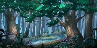 Forest. Realistic Style. Video Game Digital CG Artwork. Concept Illustration, Realistic Cartoon Style Scene Design stock illustration