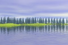Forest reflected on lake Stock Photos