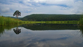 Forest reflection in the lake. Lake in the Republic of Bashkortostan Stock Photo
