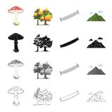 Forest related icon set. Amanita, forest fire, hand saw on wood, mountain with clouds. Forest set collection icons in cartoon black monochrome outline style Stock Photography