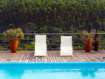 Forest resort. Image of an outdoor swimming pool against a backdrop of forest Royalty Free Stock Photography
