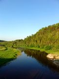 Forest river 5. A view from a bridge of a forest river Royalty Free Stock Images