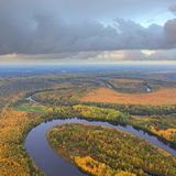 Forest river in autumn, top view Stock Photography