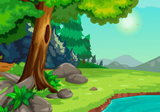 Forest with a river background. Illustration of forest with a river background vector Stock Photo