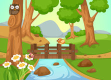 Forest with a river background vector Stock Photo