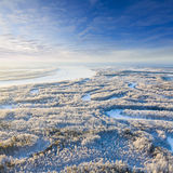 Forest river during cold winter day, top view Royalty Free Stock Photo