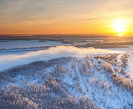 Forest river during cold winter sundown, top view Stock Image