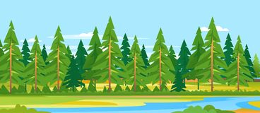 Forest River Landscape Background Illustration Libre de Droits