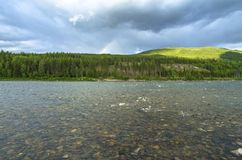 Forest River in the mountains in Norway. Hiking background.  royalty free stock image