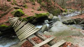 Forest river with old bridge. Old broken bridge of planks over the river with stones and moss in the forest near the mountain slope stock video