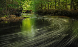 Forest river in Poland. Curve on forest river in Poland Stock Photo
