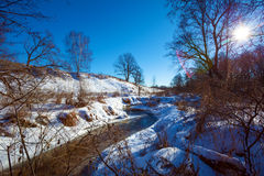 Forest River with Snow at Early Spring Stock Photography