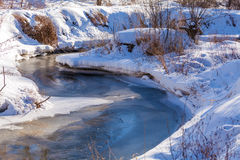 Forest River with Snow at Early Spring Royalty Free Stock Photos