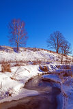 Forest River with Snow at Early Spring Royalty Free Stock Photo