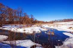 Forest River with Snow at Early Spring Stock Photos