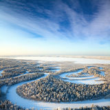 Forest river in winter day Royalty Free Stock Photos