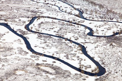 Forest river in winter, top view Stock Photography