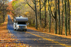 Forest road in autumn - Shenandoah National Park royalty free stock photography