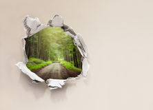 Forest road behind wall. Forest road behind paper wall royalty free stock photos