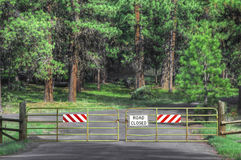 Forest Road Closed. At times roads are closed into forested areas Royalty Free Stock Photo