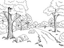 Forest road graphic art black white landscape sketch illustration Stock Photos