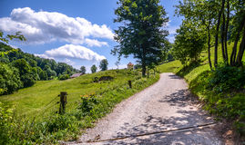 Forest road or path in woods and mountains in Slovenia. Country road in nature of Smarna gora Ljubljana, with chapel in the background and blue sky with white Stock Images
