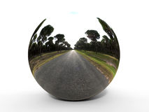 Forest road in a sphere Stock Image