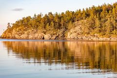 Forest and rocks reflecting in sea very early in the morning Stock Photos
