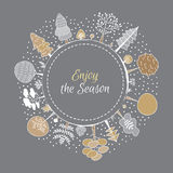 Forest round vector ornament with white, grey and gold frame decoration Royalty Free Stock Image
