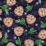 Forest rug. Vector pattern - pine cones, green and dark blue twigs of pine, snowflakes Royalty Free Stock Photos