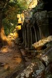Forest ruins. Ruins of historic cambodian preah khan building Stock Photos