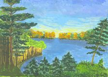 Forest`s lake. Watercolour hand drawn picture withe green and yellow forest and blue lake and sky Stock Images