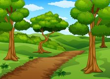 Forest scene with dirt trail. Illustration of Forest scene with dirt trail Stock Image