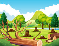 Forest scene with stump trees. Illustration Royalty Free Stock Images