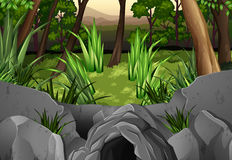 Forest scene with trees around cave. Illustration Stock Photos