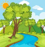 Forest scene with trees and river. Illustration Royalty Free Stock Image