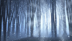 Forest scene on a winters nights Royalty Free Stock Image